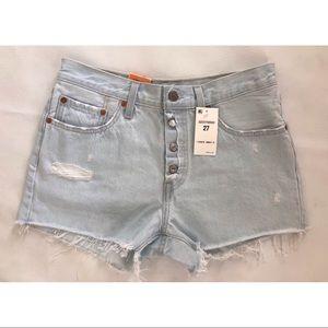 Levi's 501 Light Blue Distressed Shorts NWT